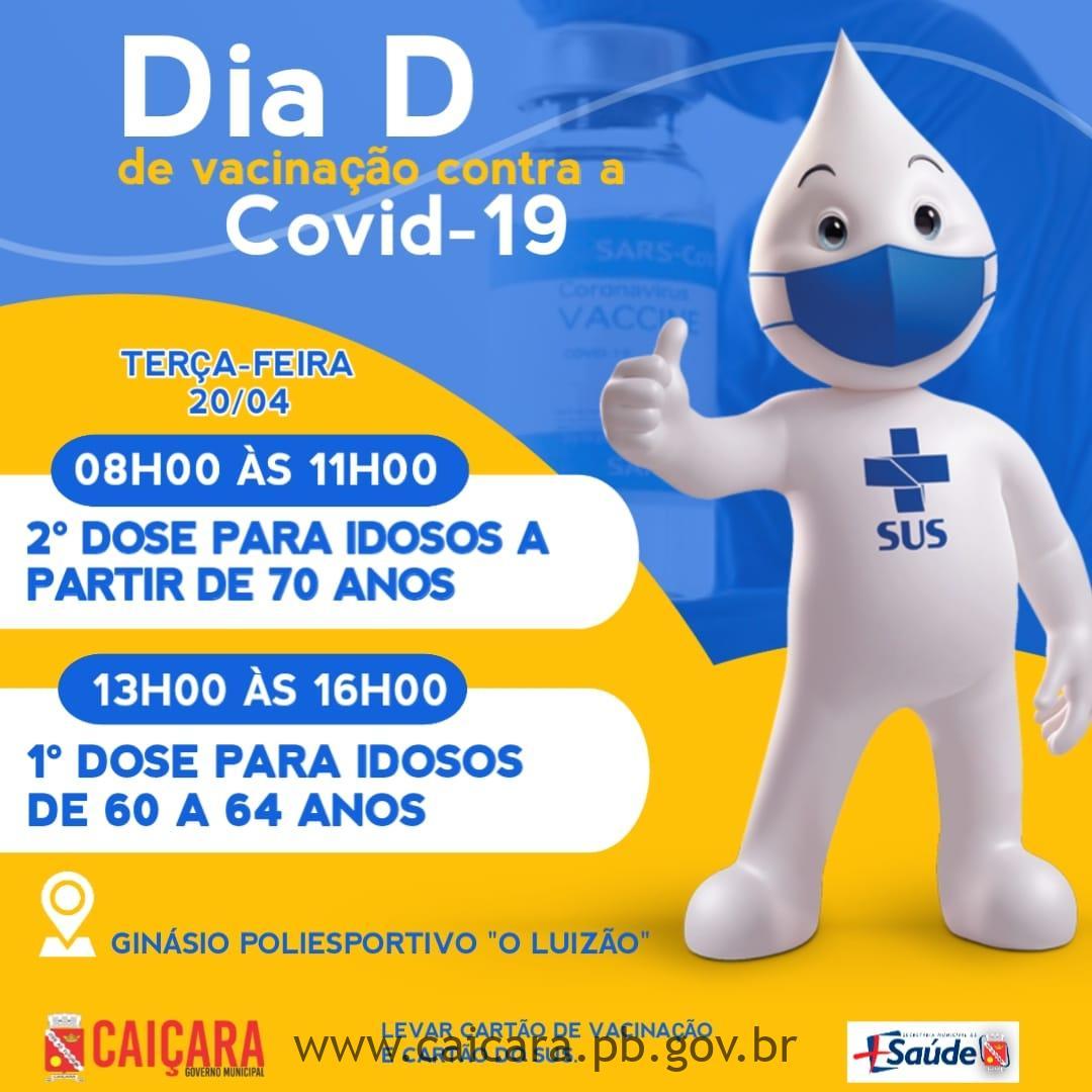 Dia D de Vacinação contra a Covid-19 nesta terça (20)